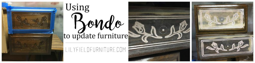 Use Bondo to update an 80's dresser in a few easy steps!