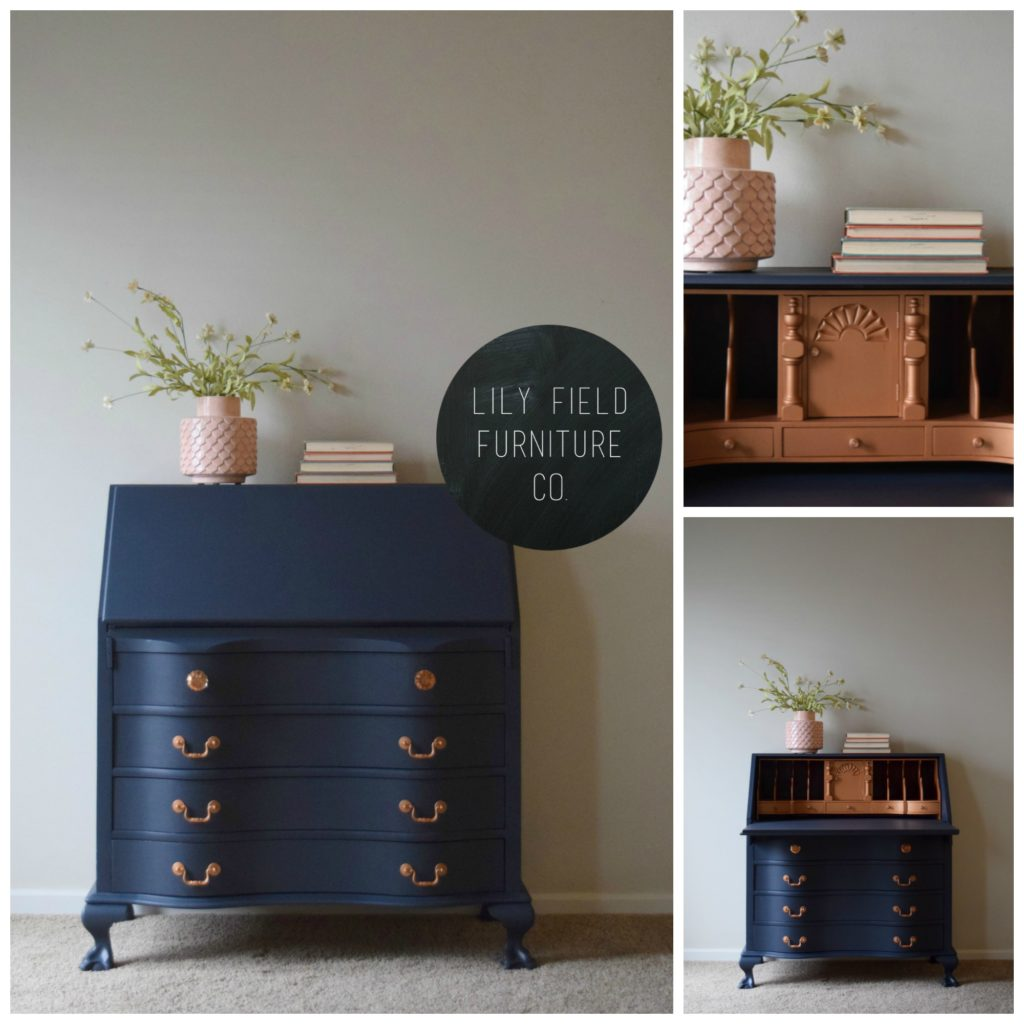 Navy Metallic Secretary Desk