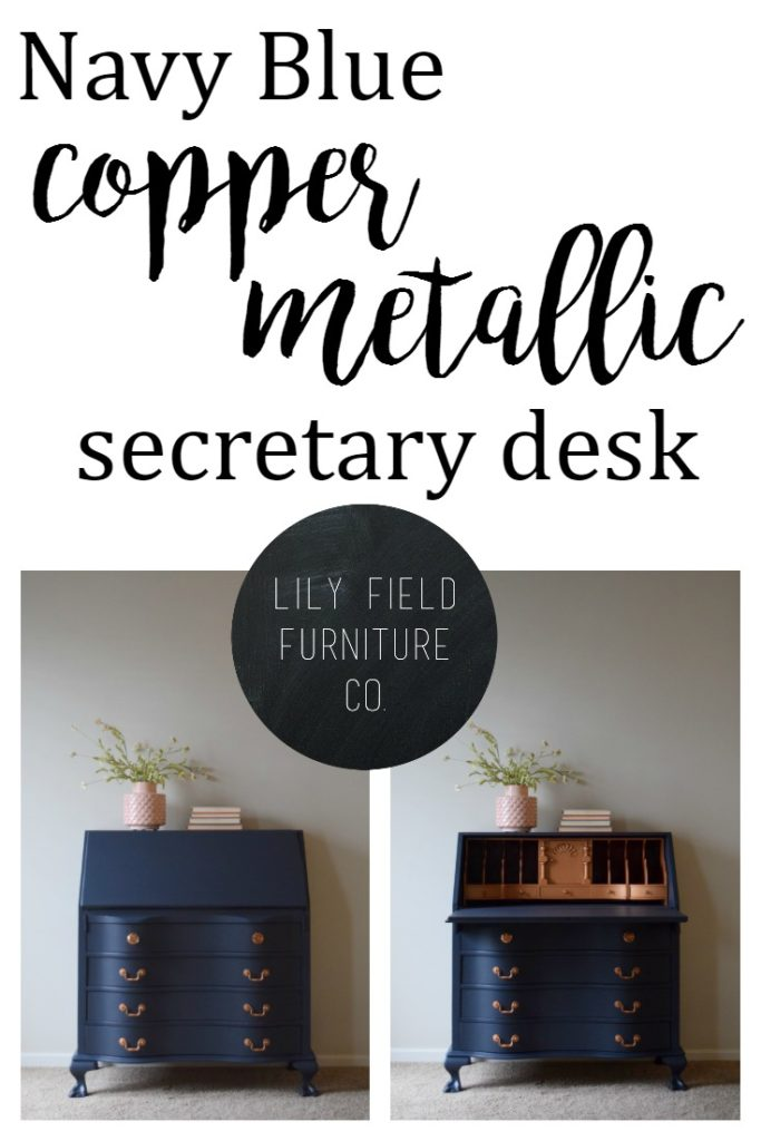 Transform a dated secretary desk with navy and copper paint!