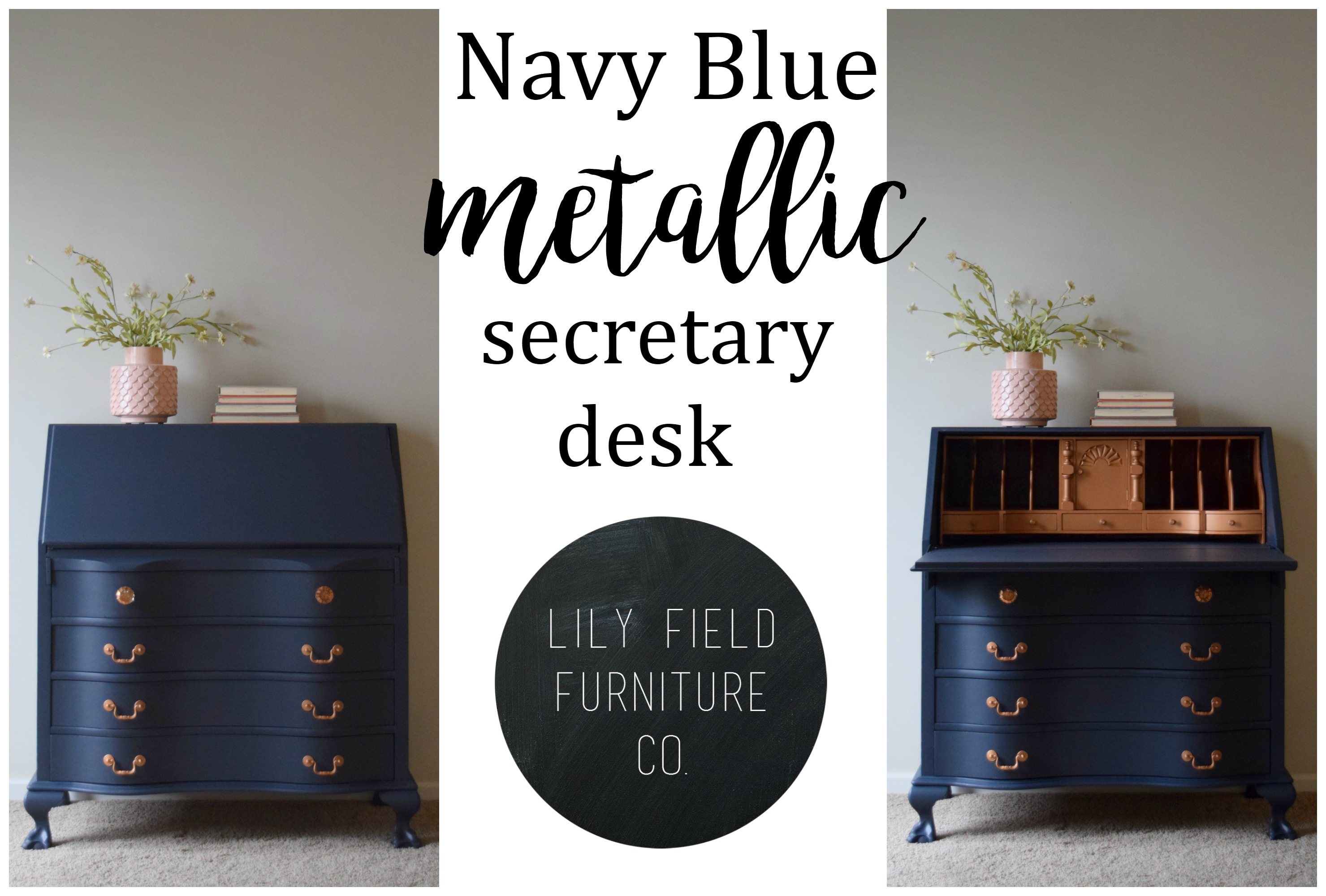 navy blue desk. DIY Tutorial On How To Transform An Outdated Secretary With Paint! Navy Blue Desk P