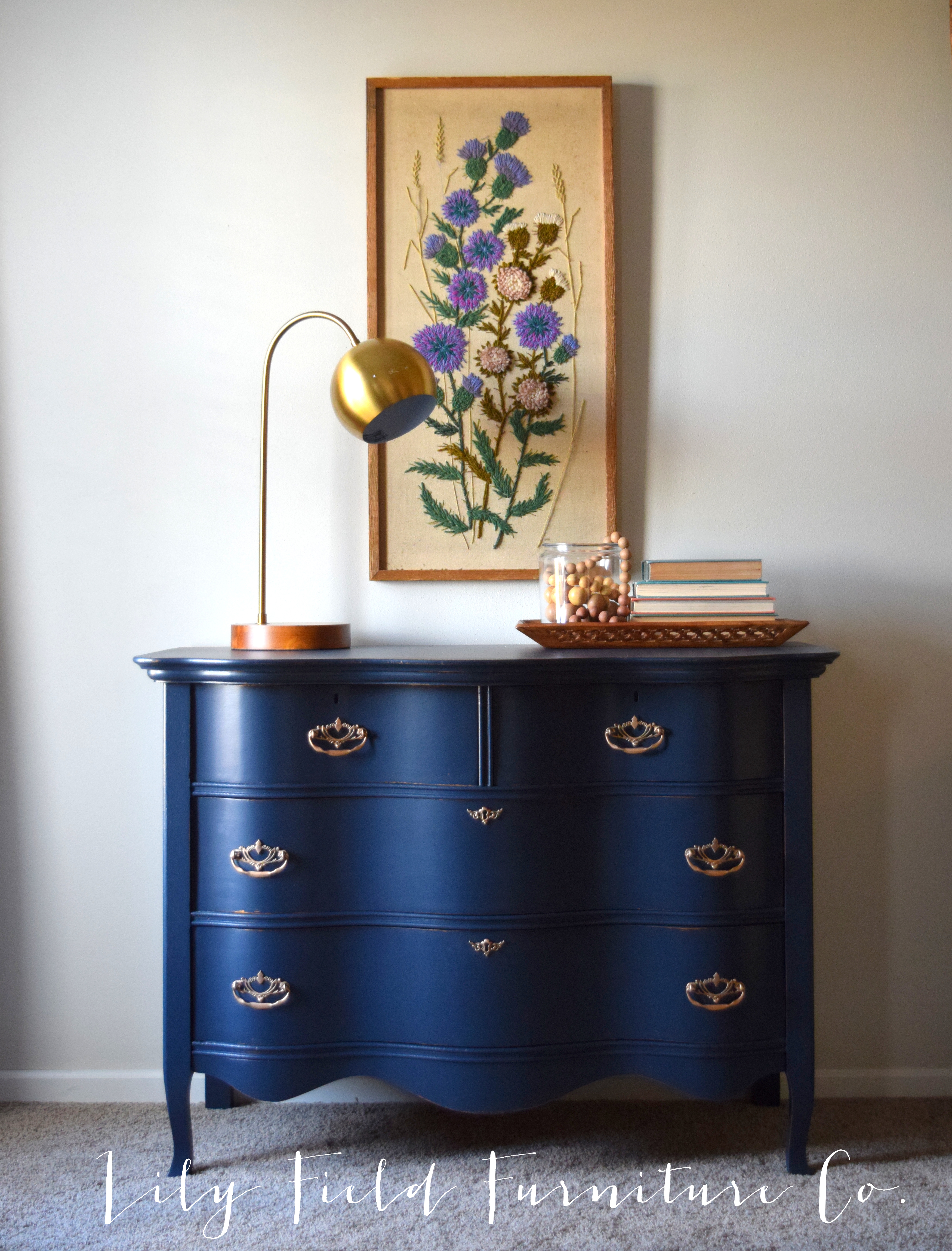 Navy dresser makeover fusion midnight blue lily field co for Navy blue painted furniture