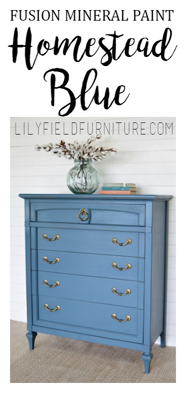 Fusion Mineral Paint in Homestead Blue is the perfect color for this dresser makeover!