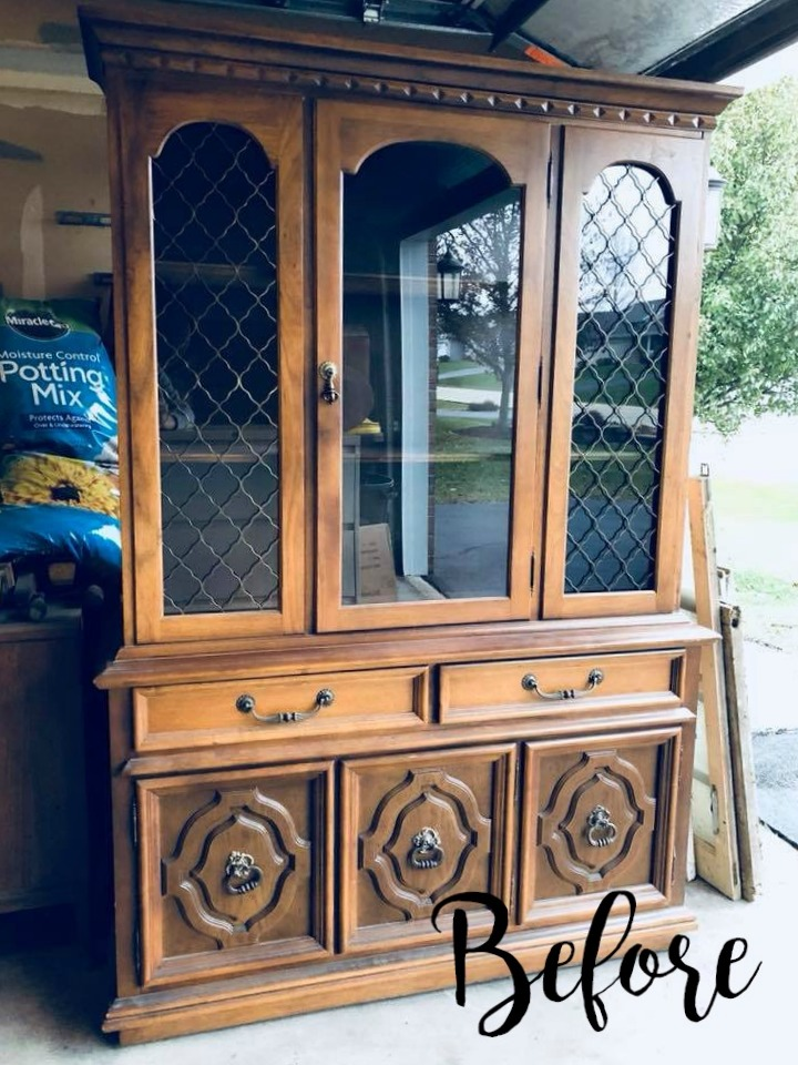Green China Cabinet Makeover Country Chic Wild Clover