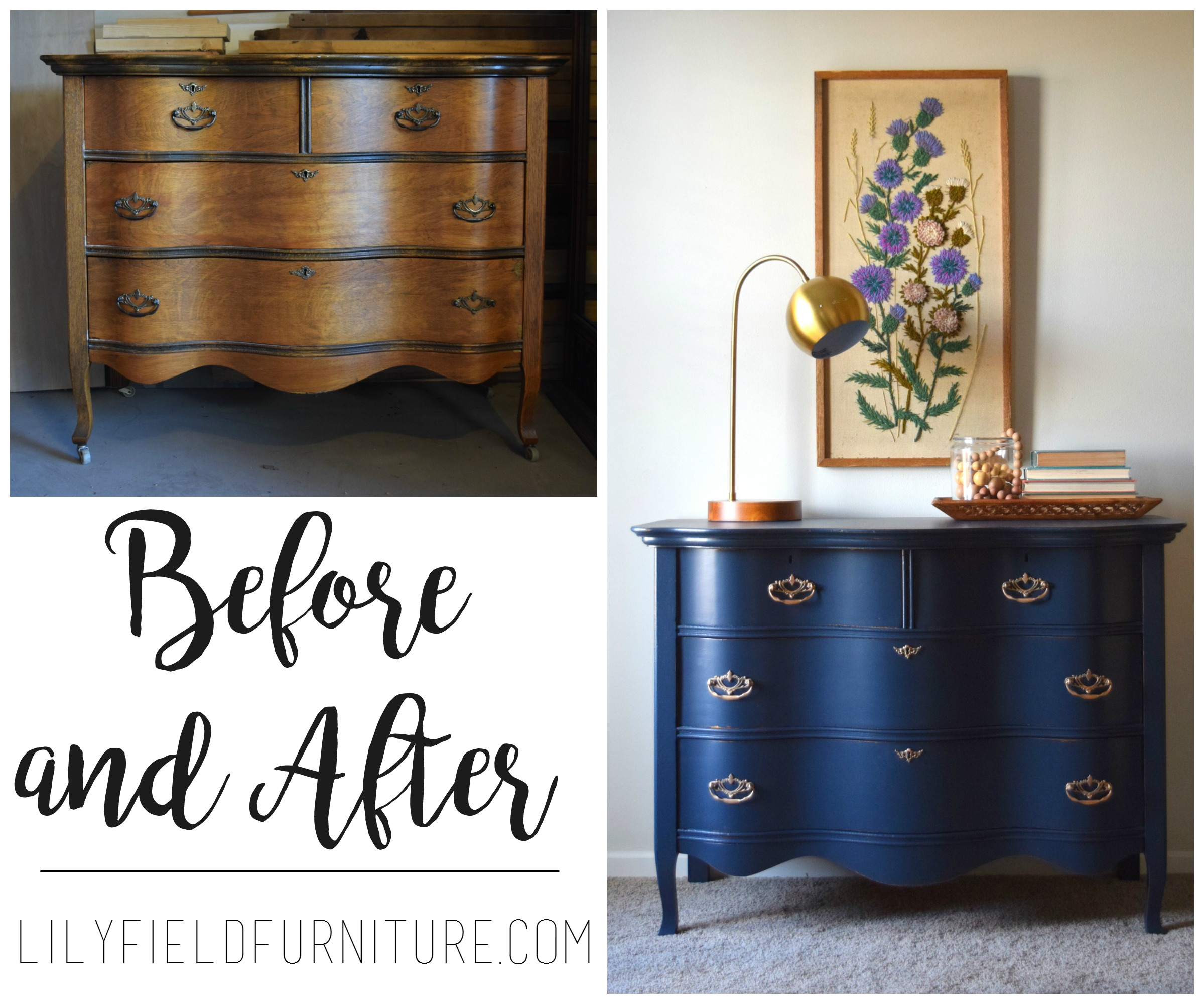 Before And After Of The Perfect Panted Navy Dresser