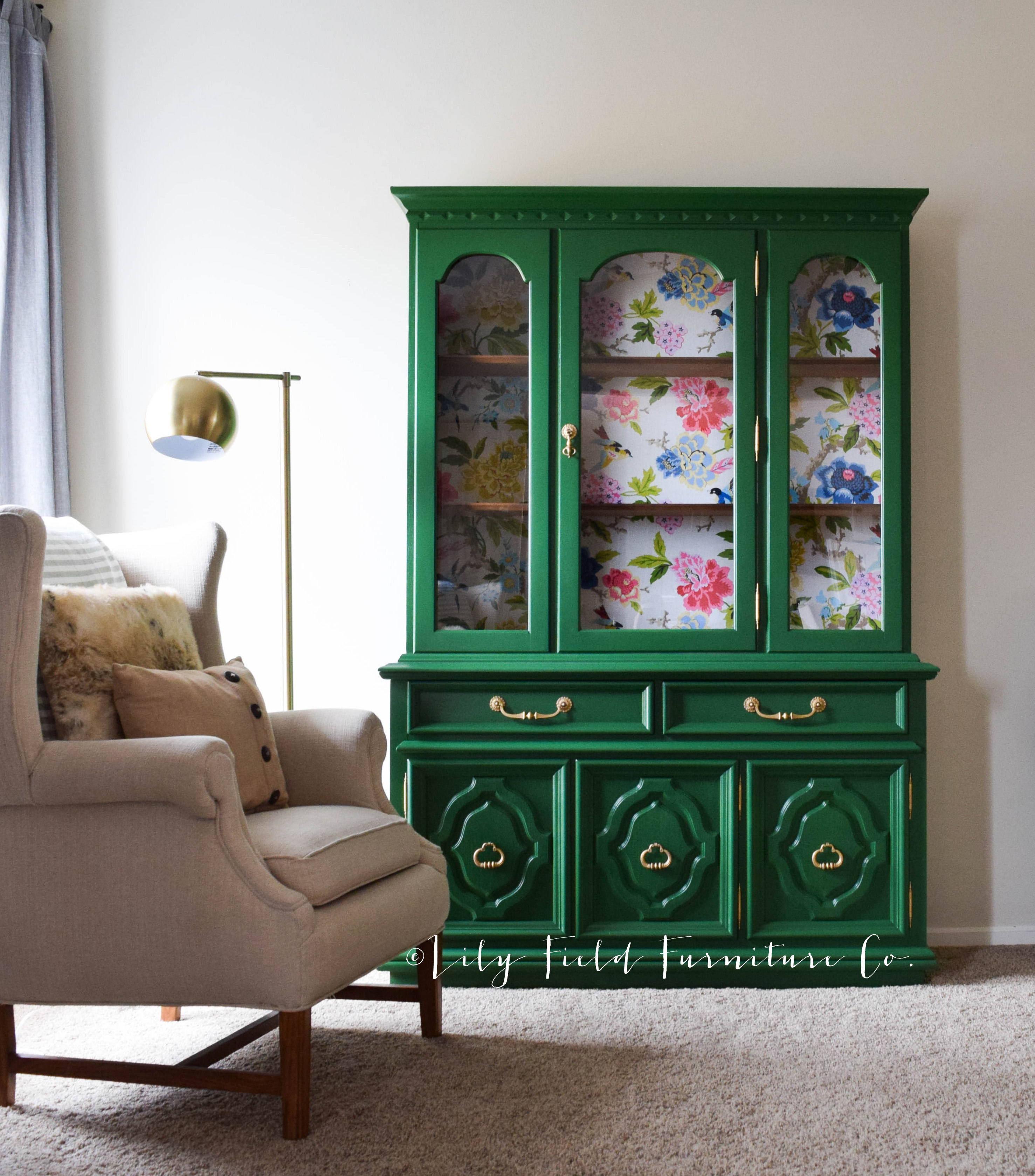 And Furniture: Green China Cabinet Makeover- COUNTRY CHIC WILD CLOVER